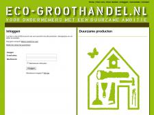 Screenshot van de website van Eco Groothandel
