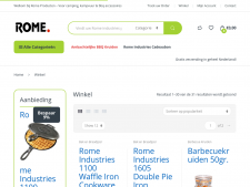 Screenshot van de website van Rome cookware
