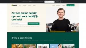 Screenshot van de website van Shopify Nederland