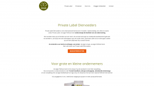 Screenshot van de website van Private Label Diervoeders